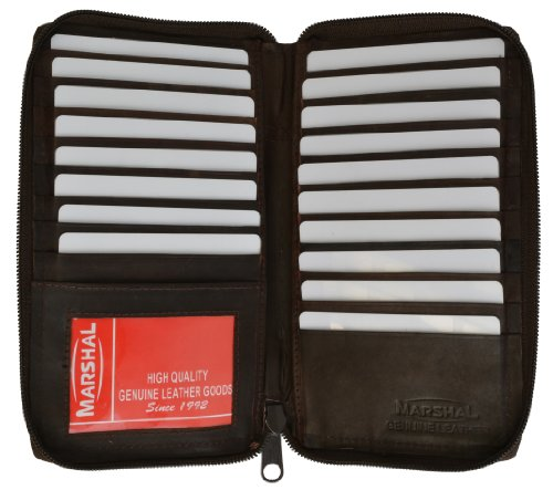Genuine Leather Zip Around Credit Card Organizer Wallet with Id Window by Marshal