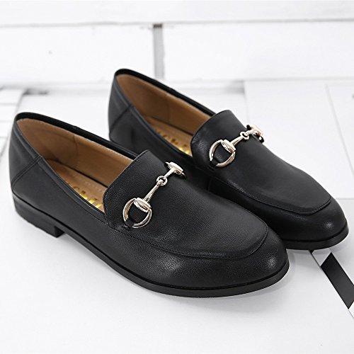 Meeshine Damen Leder Loafer Comfort Schnalle Slip On Schuhe Schwarz