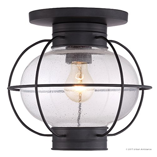 Luxury Nautical Outdoor Ceiling Light, Small Size: 10.5''H x 11.5''W, with Art Deco Style Elements, Cage Design, High-End Black Silk Finish and Seeded Glass, UQL1034 by Urban Ambiance by Urban Ambiance (Image #7)