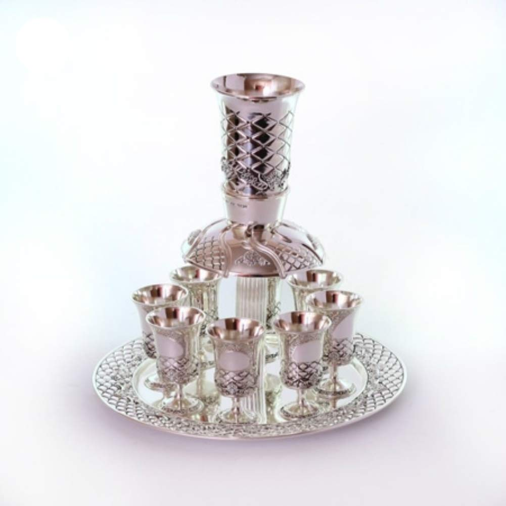 Silverplated Kiddush Fountain With 8 Cups, Criss Cross