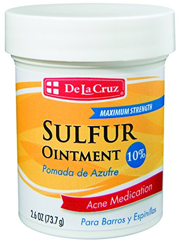 - De La Cruz 10% Sulfur Ointment Acne Medication, Allergy-Tested, No Preservatives, Fragrances or Dyes, Made in USA 2.6 OZ.