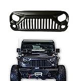 SXMA Jeep Wrangler JK Accessories Grille Gladiator Angry Front Grille Grill for Jeep Wrangler Rubicon Sahara Sport JK 07-17(Black)J189