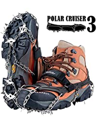 Upgraded 19 Spikes Crampons Ice Snow Grips Traction Cleats System Safe Protect for Walking, Jogging, or Hiking on Snow and Ice (Fit S/M/L/XL/XXL Shoes/Boots)