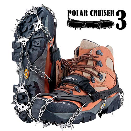 Uelfbaby 19 Spikes Crampons Ice Snow Grips Traction Cleats System Safe Protect for Walking, Jogging, or Hiking on Snow and Ice (Fit L,XL,XXL Shoes/Boots) (19 Spikes-Black, Small) (Best Ice Cleats For Walking)