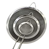 enclosed fryer - KXN Fine Mesh Stainless Steel Strainers with Long Wire Handle Strainer Colander Sieve - Set of 3 - Best for Kitchen, Tea, Rice,Vegetable & Juice Use