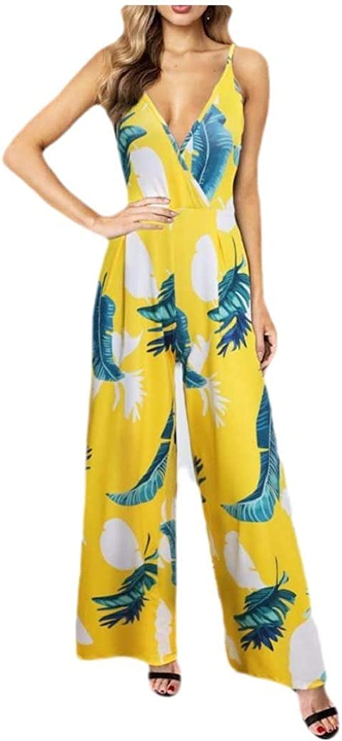 Doufine Womens Wide Leg Open Back V Neck Curvy Floral Sling Jumpsuit