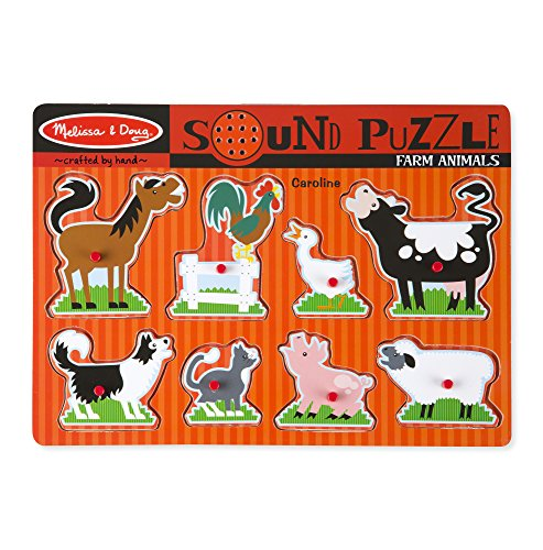 Melissa & Doug Personalized Farm Animals Peg Puzzle with Sound Effects (8 Piece) ()