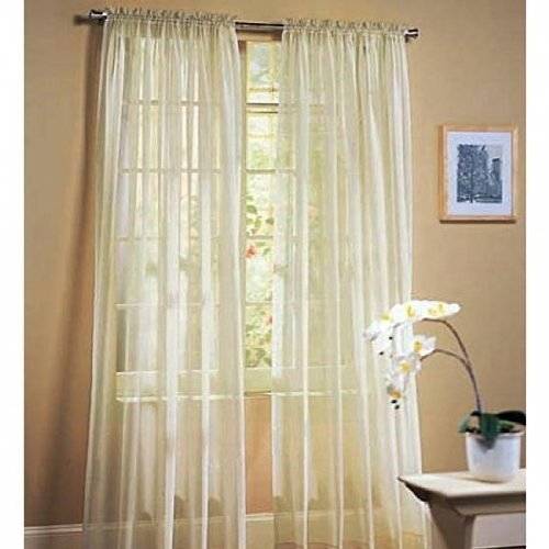 LuxuryDiscounts 1 PC Solid Rod Pocket Sheer Window Curtain Treatment Drape Voile Panel In Variety Of Colors (54