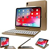 iPad Pro 11 2018 Keyboard, Snugg [Gold] Backlit Wireless Bluetooth Keyboard Case Cover