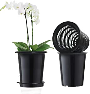Meshpot 2Pcs 5 Inch Plastic Orchid Pots with Holes,Decorative Planter Pots for Indoor Outdoor Flower Plants,Herbs,Snake Plants and Succulents