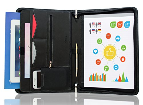 Binder Portfolio (STYLIO Zippered Padfolio Portfolio Binder, Interview Resume Document Organizer. Internal Holders For iPad/Tablet (up to 10.1