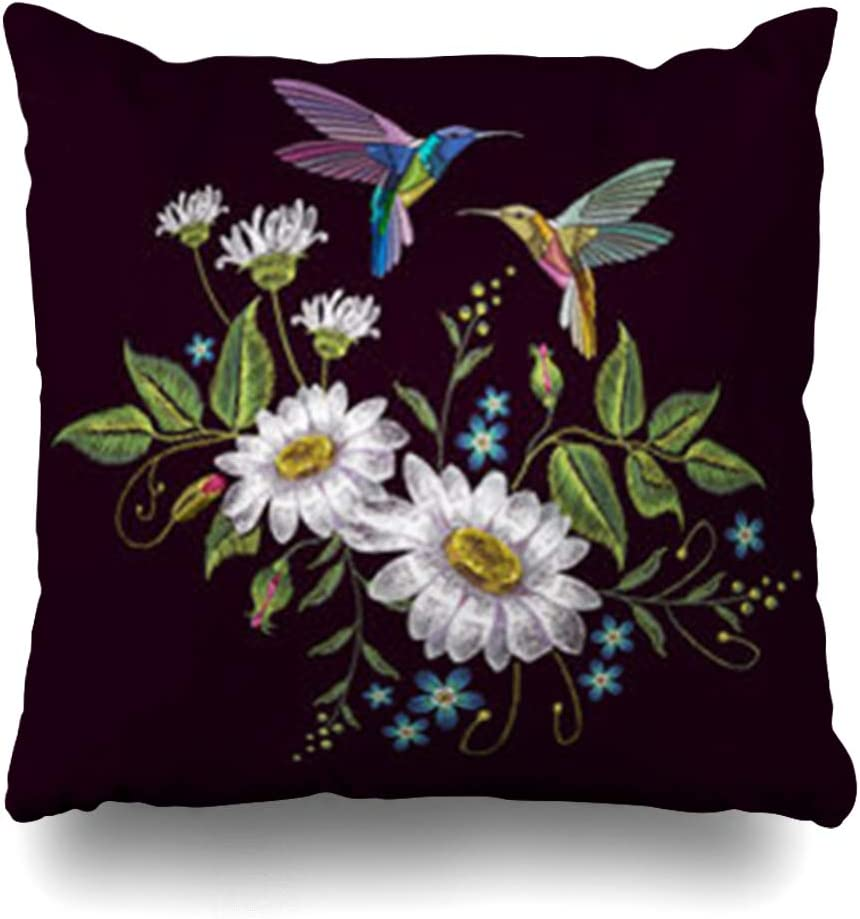 India 20x20 Embroidered Floral Pillow