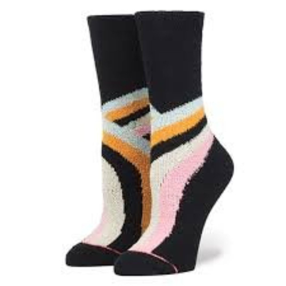 Stance Women's Alana Modern Rainbow Stripe Arch Support Winter Everyday Crew Sock, Black, Medium