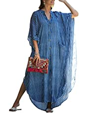 Bsubseach Women Stylish Plus Size Beach Shirt Dress Loose Button Up Bikini Cover Up