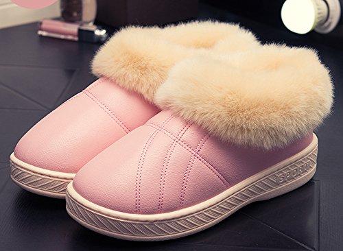 IDIFU Womens Mens Warm Faux Fur Indoor Outdoor Closed-Back Slippers Boots Pink eyIjy14g