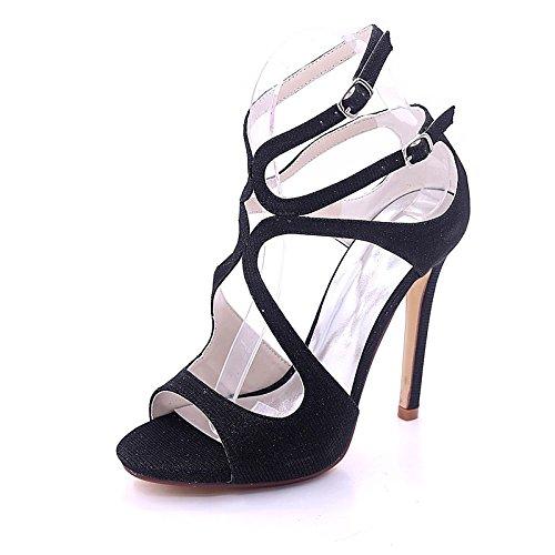 di nozze la nero donna per estate pompa Glitter punta ZHZNVX primavera gold Heel della Stiletto sandali serata base la fibbia Black Scarpe frizzante aperta festa Rq46wxHg