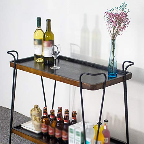 Kitchen Cart European Wrought Iron Hotel Dining Car, Trolley Wine Rack Multi-Function Rack Home Trolley with Wheels (603575cm) by Kitchen Cart (Image #5)