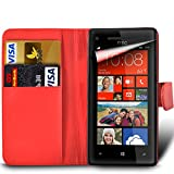 xiaomi red rice note - MobiBax Xiaomi Red Rice Note 4X - Protective Magnetic Pu Leather Wallet Flip Skin Case Book Cover In Red