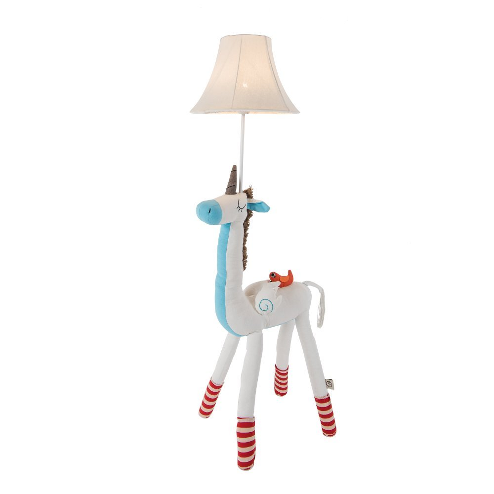 Kids Lamp for Girls, Unicorn Lamp Cute Floor Lamp Decorative Light with Fabric Lampshade for Nursery Bedroom Living Room by BALIE SPACE