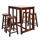 Merax 5-piece Dining Table Set High/Pub Table Set with 4 Bar Stools (Walnut.)