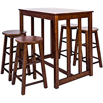 merax 5piece dining table set highpub table set with 4 bar stools