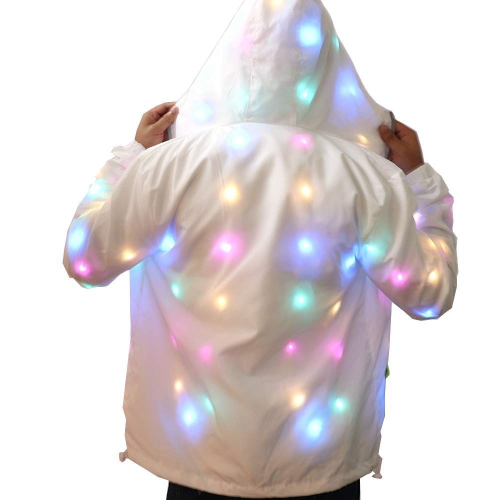 Mokylor Flash Light LED Jacket, Light Up Coat Luminous Outwear Stage Costumes, Waterproof Glowing Rave Clothes for Dance Show Halloween Xmas Event Party(XL)