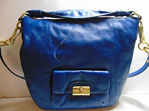 Coach Leather Hobo Shoulder Bag Navy Blue Vintage Coach