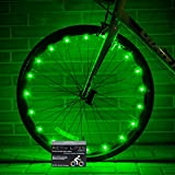 Super Cool LED Bicycle Wheel Lights - Best Birthday Presents & Gifts for Boys Girls and Fun Adults. BATTERIES INCLUDED! Get 100% Brighter & Safe Bike Spokes Rims (1 Tire pk) (Green)