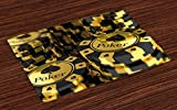 Lunarable Poker Tournament Place Mats Set of 4, Gold and Black Poker Chips in Gambling Club Currency Stack Wager Print, Washable Fabric Placemats for Dining Room Kitchen Table Decoration, Gold Black
