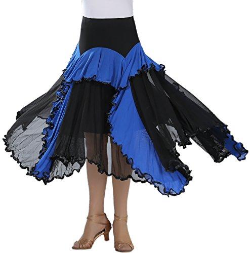 [Asymmetry Hem Ruffle Women's Flamenco Ballroom Paso Doble Dance Skirts Costumes] (Paso Doble Costume)