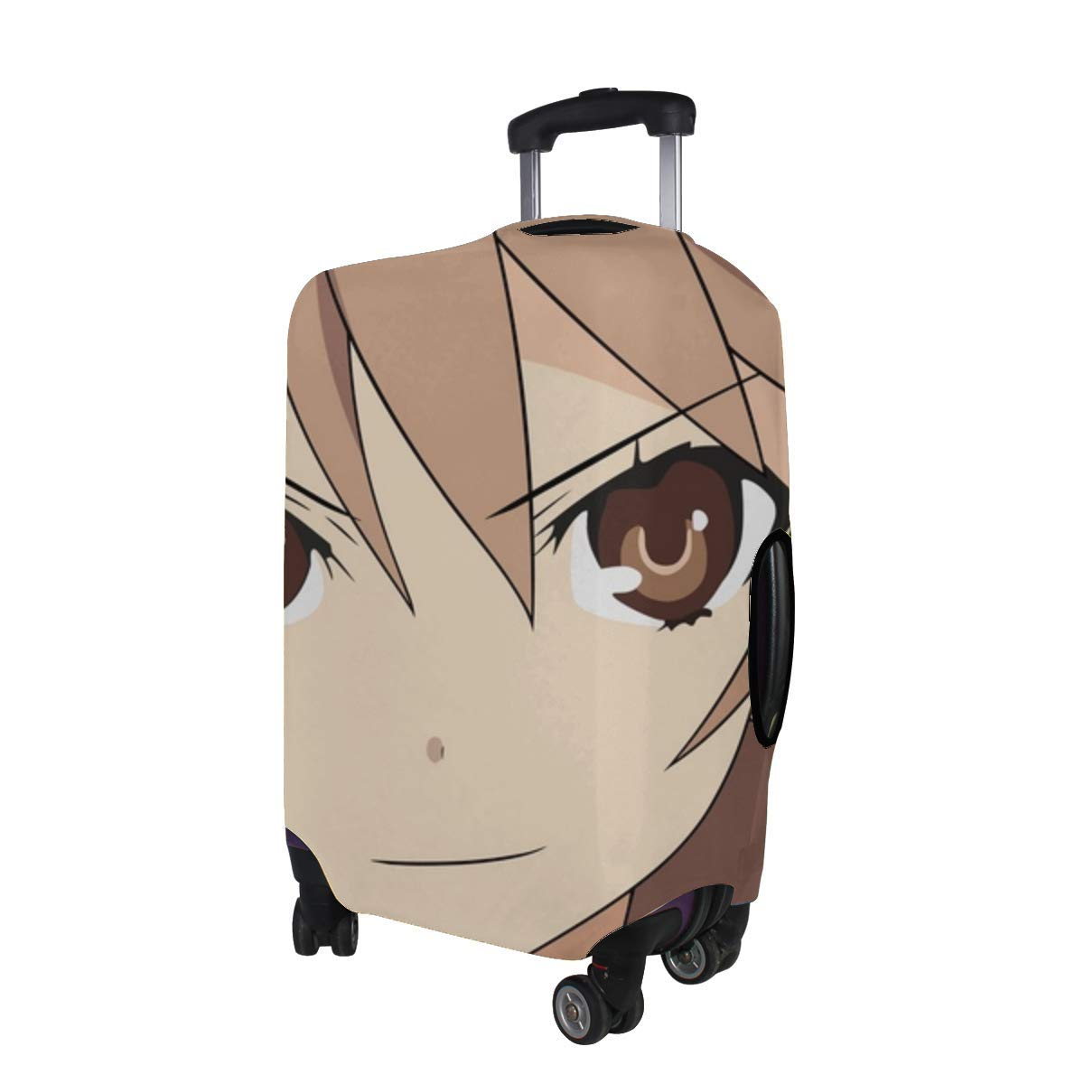 Maxm Ookami-san To Shichinin No Nakama-tachi Ookami Ryouko Look Girl Bangs Close-up Pattern Print Travel Luggage Protector Baggage Suitcase Cover Fits 18-21 Inch Luggage