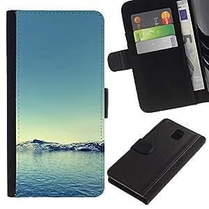 WINCASE Cuadro Funda Voltear Cuero Ranura Tarjetas TPU Carcasas Protectora Cover Case Para Samsung Galaxy Note 3 III - ártico nieve del invierno del trullo del agua azul