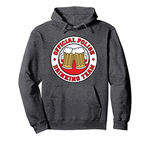 Unisex Official Polish Drinking Team Funny Pullover Hoodie XL: Dark Heather ()