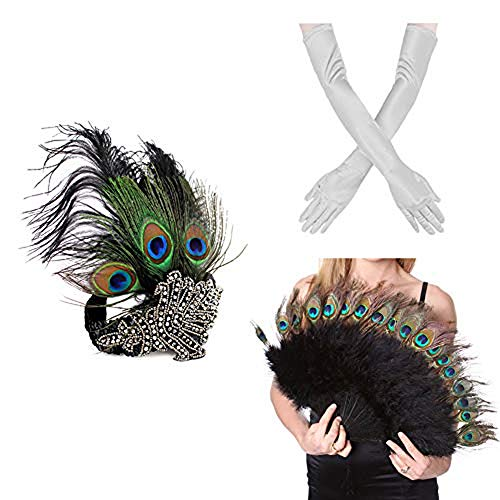 1920s' Vintage Flapper Accessories Costumes Set Peacock Headband, Sliver Gloves n Peacock Feather Fan for Halloween