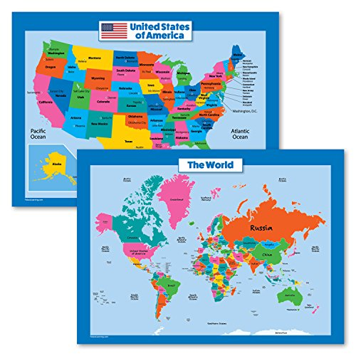 World Map and USA Map for Kids - 2 Poster Set - LAMINATED - Wall Chart Poster of the United States and the World (18 x 24) by Palace Curriculum