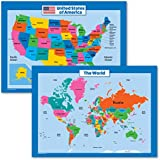 World Map and USA Map for Kids - 2 Poster Set - LAMINATED - Wall Chart Poster of the United States and the World (18 x 24)