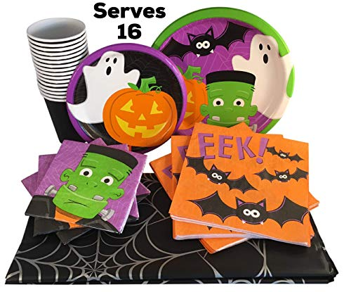 Friendly Ghouls Kids Halloween Party Plates Set with Cups, Napkins and Table Cover (Friendly Ghouls, Serves 16) for $<!--$29.95-->