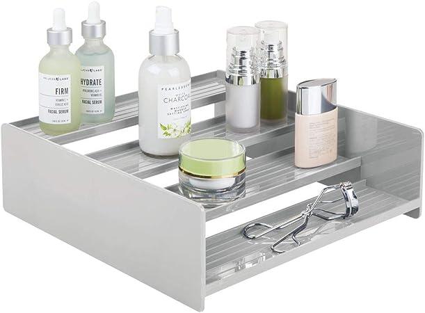 mDesign Sistema de almacenaje multiusos – Perfecto como caja para medicamentos o para organizar vitaminas y suplementos – Estante en escalera de plástico con 4 niveles – gris claro: Amazon.es: Hogar