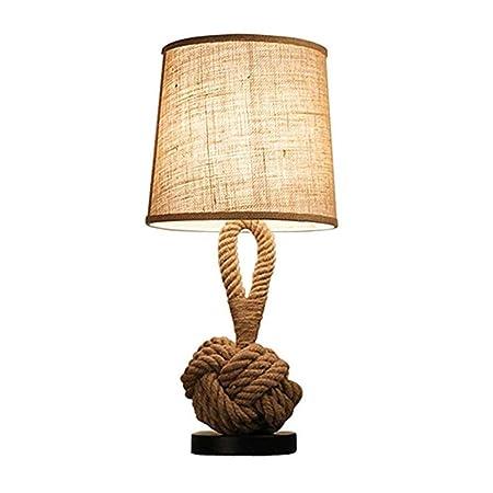 Cuerda de cáñamo Lámpara de mesa Dormitorio Lámpara de noche E27 ...