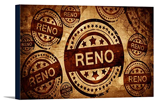- Reno, Nevada - Vintage Stamp on Paper Background - Illustration A-97766 97766 (36x19 1/8 Gallery Wrapped Stretched Canvas)
