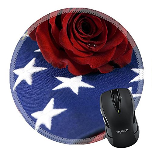 MSD Natural Rubber Mousepad Round Mouse Pad/Mat: 623626 A lone red rose lying on top of a folded American flag A single tear drop falls from the rose I miss my daddy my hero -