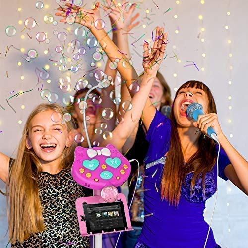 KOMVOX Kids Karaoke Microphone with Stand, Girls Karaoke Machines with Bubble Function, 4 5 6 7 8 Year Old Girls Toy, Birthday Gifts for Girls Children's Microhpnes for Singing by KOMVOX (Image #1)