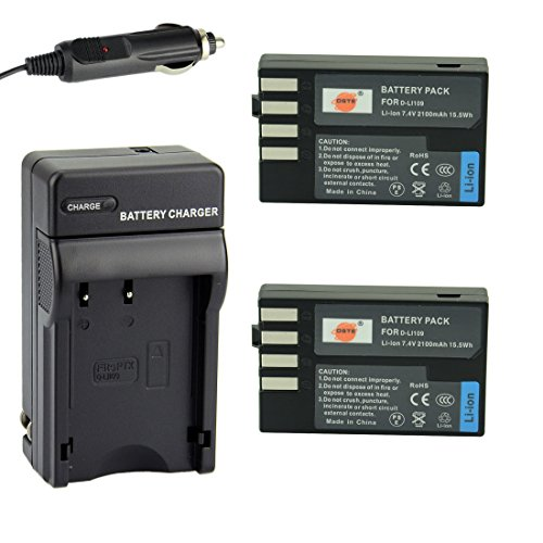 DSTE 2x D-Li109 Battery + DC112 Travel and Car Charger Adapter for Pentax K-R K-30 K-50 K-500 KR K30 K50 K500 K-S1 K-S2 K-70 Camera