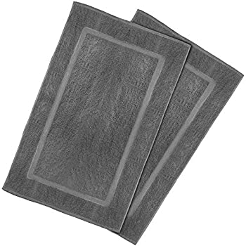 Utopia Towels 21-Inch-by-34-Inch Washable Cotton Banded Bath Mat, 2 Pack, Smoke Gray