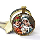 nijiahx Punch and Judy with Baby - Iconic Puppets - Old Fashioned Puppet Show Keychain