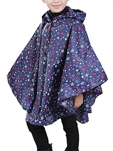 Coat Raincoat (Spring fever Children's Hooded Poncho Eco-Friendly Cute Stylish Lightweight Raincoats Blue M (Fit 39.4