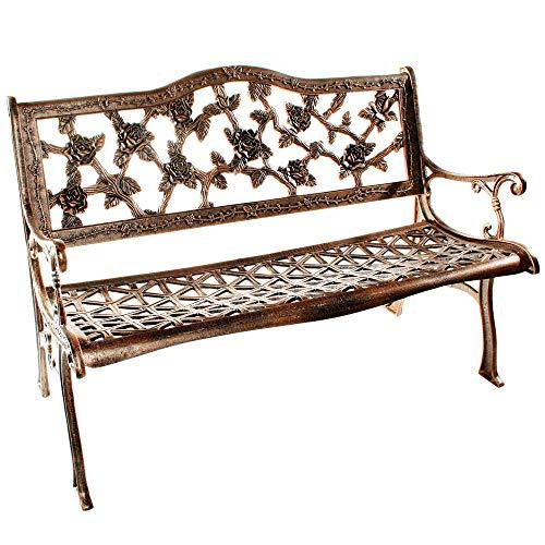 - Flower Lovers English Rose Cast Aluminum Bench