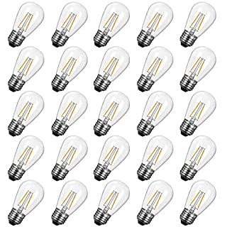 Brightown Shatterproof LED S14 Replacement Light Bulbs-E26 E27 Medium Screw Base Edison Bulbs Equivalent to 11 W, Fits for Commercial Outdoor Patio Garden Vintage Lights, 25-Pack, Warm White