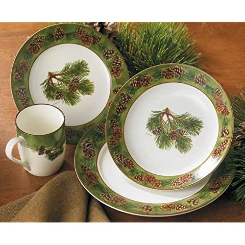 Wild Wings 8955209101 Wild Wings Pinecone 16 Piece Dinnerware Set