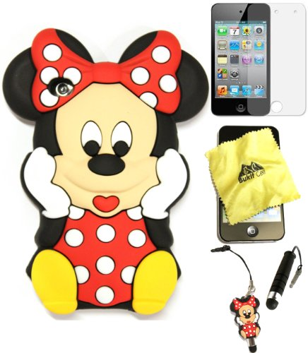 Bukit Cell Case Bundle - 5 items: RED 3D Cute Minnie Mouse Silicone Case for iPod Touch 4 4G 4th + BUKIT CELL Cloth + Minnie Figure Stylus Touch Pen + Screen Protector + METALLIC Stylus Touch Pen